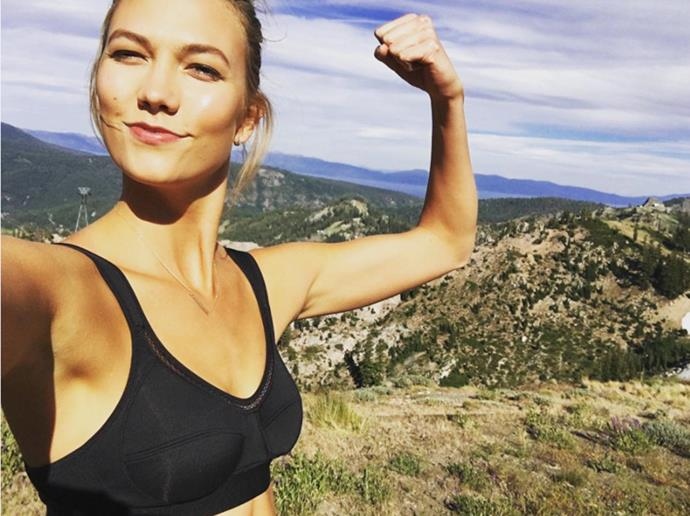 """Karlie Kloss <br><Br> Kloss credits swimming and modelFIT studio trainer Justin Gelband for her incredible body. <br><br> Instagram: <a href=""""https://www.instagram.com/karliekloss/?hl=en"""">@karliekloss</a>"""