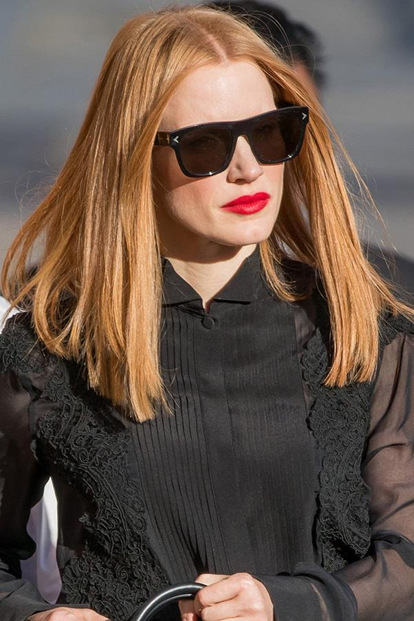 <strong>11. Bended Ends</strong><br><br> Jessica Chastain's blunt cut is mostly straight except at the ends, where it's flicked inward just a bit. It makes her cut seem just a little more styled.