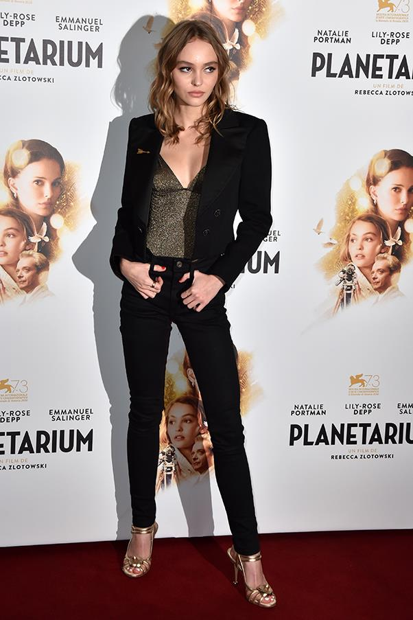 Wearing a Chanel jacket, shoes and jewellery at a screening of her new film <em>Planetarium</em> in France in November, 2016.