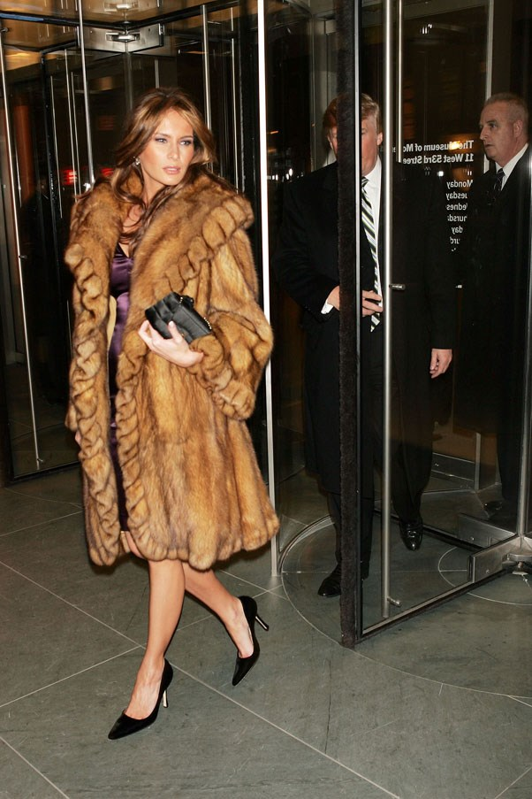 Trump opting for an oversized fur coat in 2004.