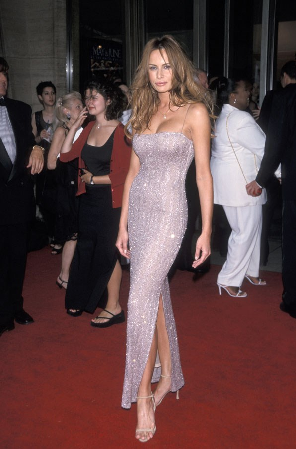 Trump in a slinky sequinned gown in 1999 at the 27th Annual FiFi Awards.