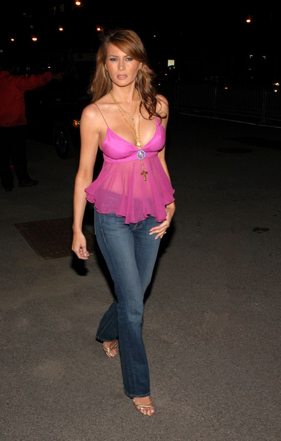 Melania in a low-cut fuchsia top and jeans in 2004.