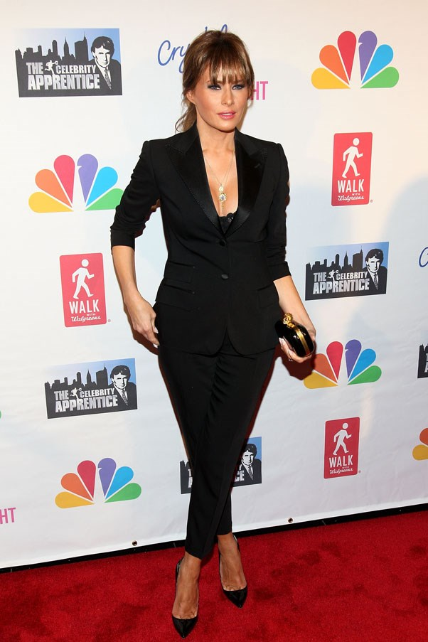 Melania dons an all black pant-suit in 2012.