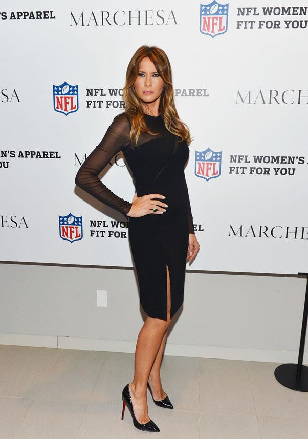 In her archetypal body-con dress, Melania Trump attends the Limited Edition Marchesa/NFL Collaboration Launch in 2012.
