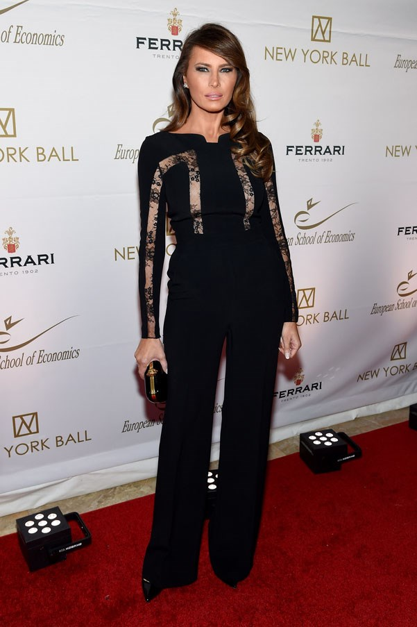 Melania wearing an all black ensemble at The New York Ball in 2015.