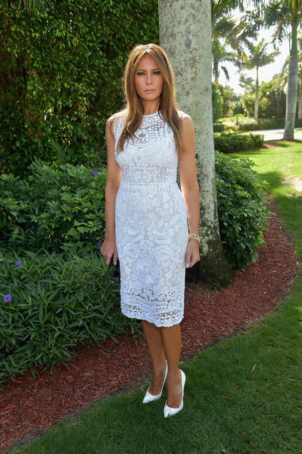 Wearing an all white shift dress at the Trump Invitational Grand Prix Mar-a-Lago Club in 2015.