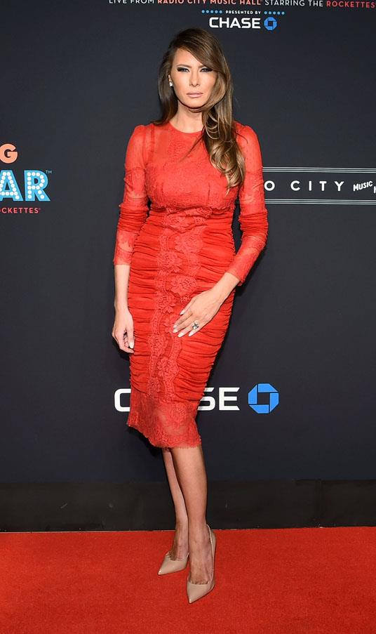 Though she has shifted into below the knee hemlines, we wonder if she will continue her penchant for body-con dresses, like this fitted red dress worn at the New York Spring Spectacular Opening Night in 2015.