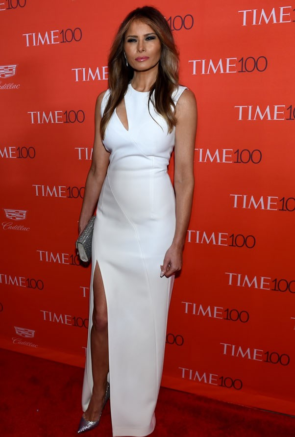 Melania attending The Time 100 Gala wearing a dress by Mugler in 2016.