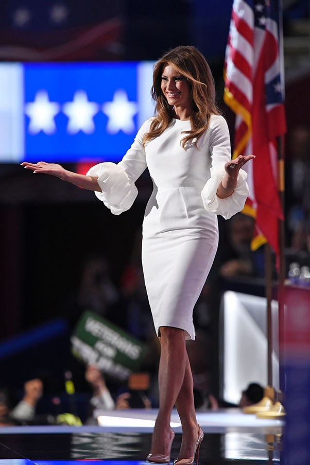 "Trump wore her signature all-white in this <a href=""https://www.net-a-porter.com/au/en/product/730230?cm_mmc=GoogleProductSearchPLA-_-AU-_-Clothing-_-Dresses&gclid=CJ_s2J6FoNACFYakvQodZP8H9Q"">Roksanda dress</a> during the Republic National Convention."