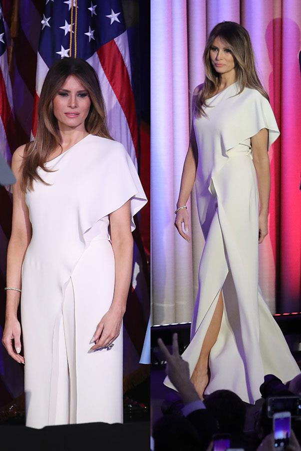 "Melania Trump on election night in this <a href=""http://www.bergdorfgoodman.com/Ralph-Lauren-One-Shoulder-Silk-Crepe-Jumpsuit-Ivory/prod122510125___/p.prod?icid=&searchType=MAIN&rte=%252Fcategory.service%253FNtt%253Dralph%252520lauren%2526pageSize%253D30%2526No%253D60%2526refinements%253D&eItemId=prod122510125&cmCat=search"">Ralph Lauren silk jumpsuit</a>"