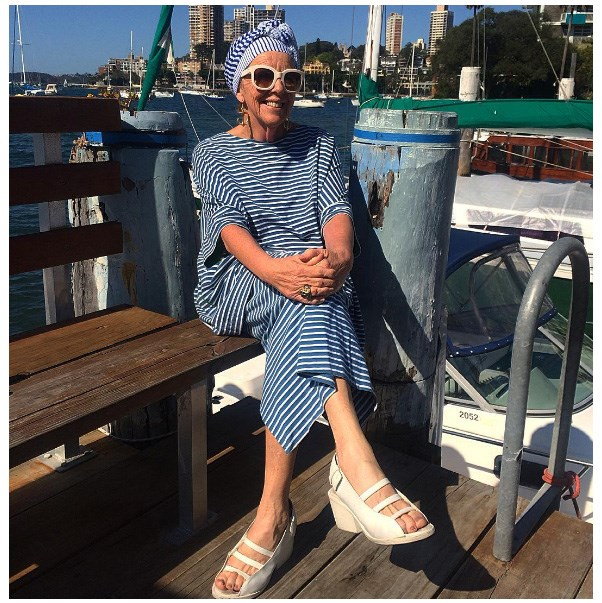 """""""Accessories are a great way to hone your personal style. I have been wearing turbans since the '80s and I love them because they finish an outfit and give me a few extra inches."""" - Lesley Crawford, 60 <br><br> Image: <a href=""""https://www.instagram.com/p/8NDKiADjkj/"""">@lesleyhasmanyhats</a>"""