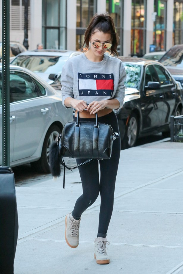 Wearing a Tommy Hilfiger jumper, leggings and Nike shoes in New York City.