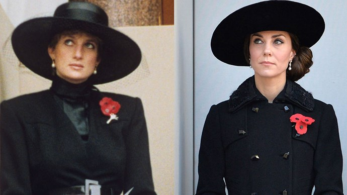 Diana at the Remembrance Sunday Service in 1991; Kate in a Diane Von Furstenberg coat at the same service in 2016.