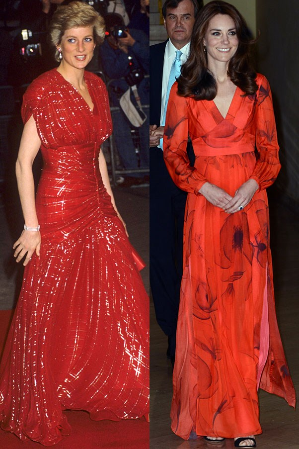 Diana in Bruce Oldfield at a movie premiere in November 1991; Kate in Beulah London at a reception in Thimphu, Bhutan in April 2016.
