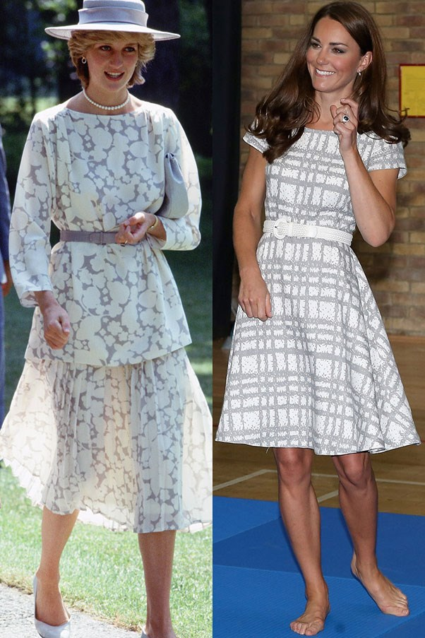 Diana in Jasper Conran during a visit to Canada in June 1983; Kate visiting Bacon's College in July 2012.