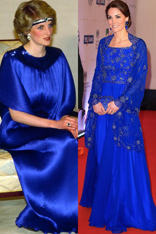 Diana in Yuki before a dinner in Japan in May 1986; Kate in Jenny Packham at a Bollywood gala in Mumbai, India in April 2016.