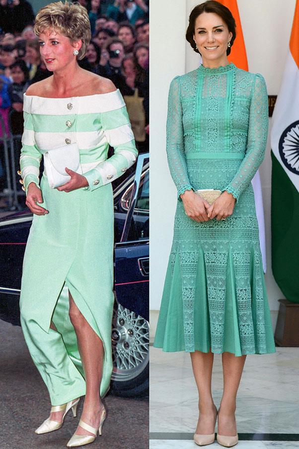 Diana attending a premiere in London's West End in April 1993; Kate in Temperley London meeting the Prime Minister of India in New Delhi in April 2016.