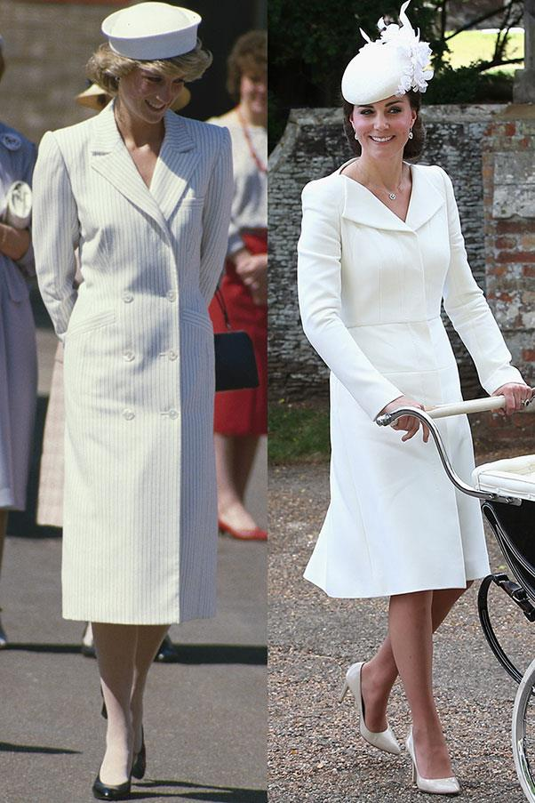 Diana in Catherine Walker on a visit to the Isle of Wight in May 1985; Kate in Alexander McQueen at Princess Charlotte's christening in July 2015.