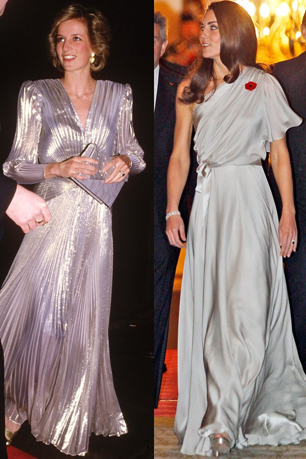 Diana in Bruce Oldfield at the Grosvenor House Hotel in London in March 1985; Kate in Jenny Packham at the National Memorial Arboretum Appeal at St James's Palace in London in November 2011.