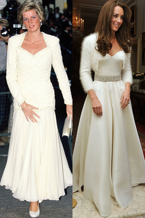 Diana in 1988; Kate leaving for Clarence House for the reception following her wedding in April 2011.