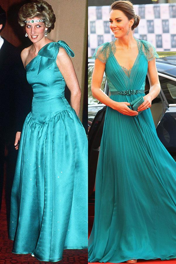 Diana in Melbourne in October 1985; Kate in Jenny Packham at Royal Albert Hall in May 2012.