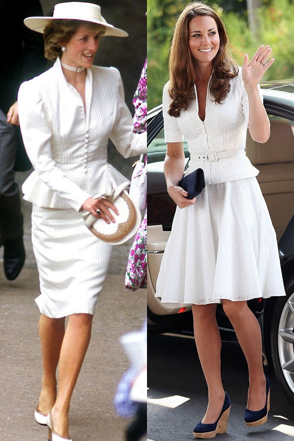 Diana at the Royal Ascot in June 1986; Kate in Singapore during the Diamond Jubilee Tour in September 2012.