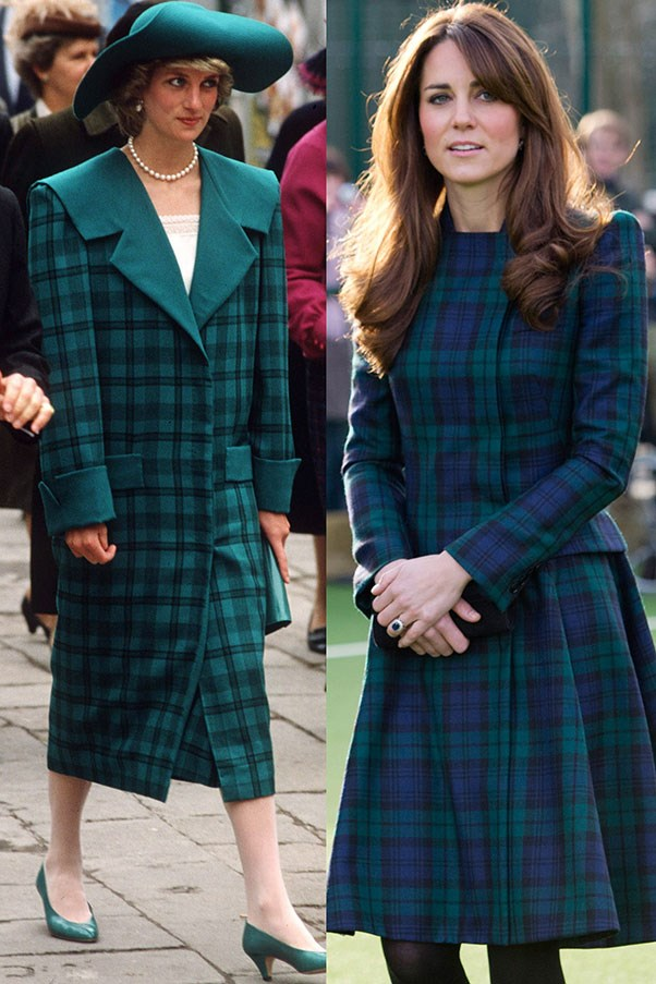 Diana in a coat by the Emanuels while touring Venice with Charles in 1985; Kate wears Alexander McQueen while visiting St. Andrew's School, her alma mater, in November 2012.