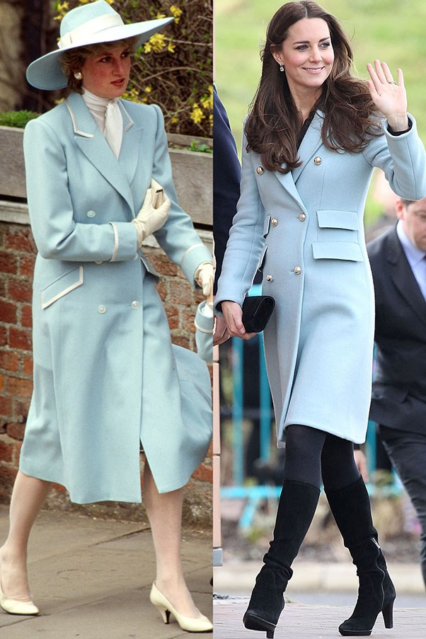Diana in Catherine Walker at Easter services in April 1987; Kate wears a Matthew Williamson coat while visiting Pembroke Refinery in Pembroke, Wales in November 2014.