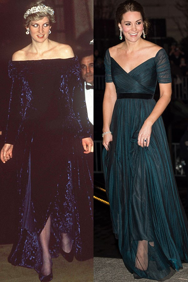Diana in Bruce Oldfield at an official dinner in Lisbon, Portugal in February1987; Kate in Jenny Packham at the 600th Anniversary Dinner for St. Andrews in December 2014.
