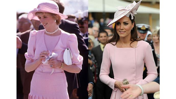 Diana wearing Catherine Walker in Sicily during the Royal Tour of Italy in April 1985; Kate in Emilia Wickstead at a garden party at Buckingham Palace in May 2012.