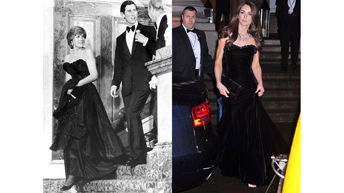 Diana attends her first public event with Prince Charles, at London's Goldsmith's Hall, in 1981; Kate at the Sun Military Awards in 2011