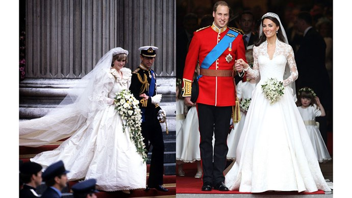 Diana at her wedding to Prince Charles in 1981; Kate at her wedding to Prince William in 2011.