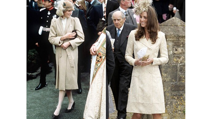Diana on her first official visit to Wales, in 1981; Kate attends the wedding of Laura Parker Bowles and Harry Lopes in 2006.