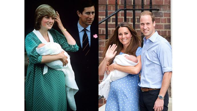 Diana and Charles present William on the day after his birth in 1982; Kate and William with Prince George on the day after his birth, 2013.