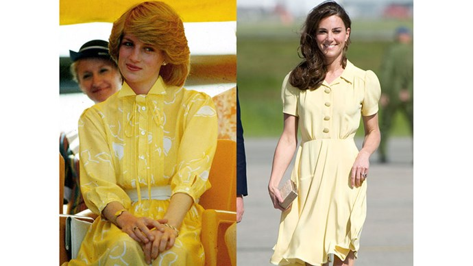 Diana visits Alice Springs during the Royal Tour of Australia and New Zealand in 1983; Kate arrives at Calgary Airport for the Royal Tour of North America in 2011.