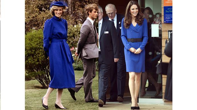 Diana in Wanganui, New Zealand during the Royal Tour of New Zealand in 1983; Kate gives her first public speech at East Anglia's Children's Hospices in 2012.