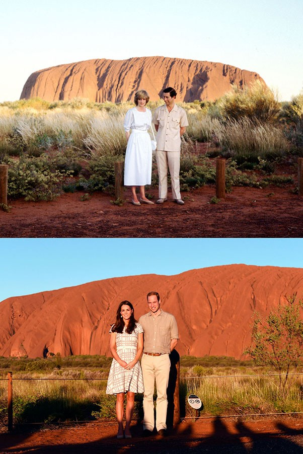 Diana and Charles at Uluru in Australia in 1983; Kate and William at Uluru in 2014.
