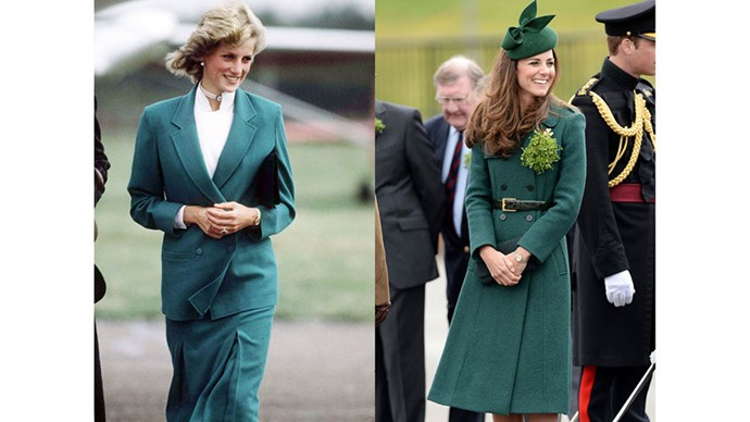 Diana in a Jasper Conran suit in 1983; Kate at a St. Patrick's Day parade in 2014.
