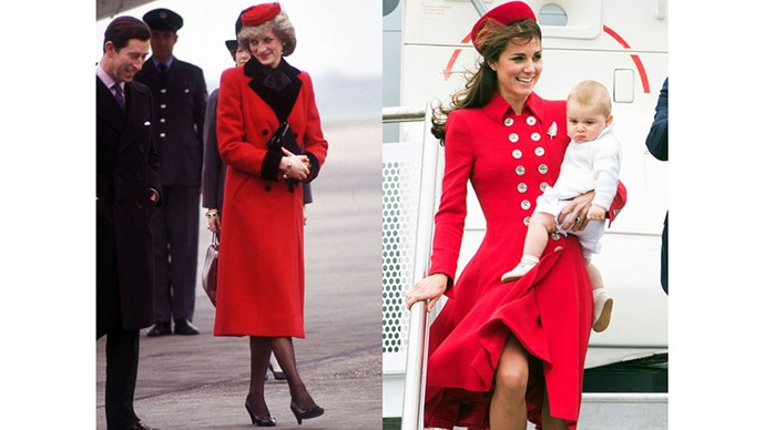 Diana arrives at Birmingham Airport in Catherine Walker, 1984; Kate and Prince George arrive at Wellington Airport in New Zealand for the beginning of the Royal Tour of Australia and New Zealand, 2014.