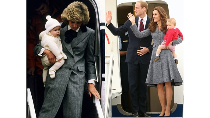 Diana carries a young Prince Harry off a plane at Aberdeen airport in Scotland in 1985; Kate, William and Prince George board their flight from Australia on the final day of the Royal Tour of Australia and New Zealand, 2014.