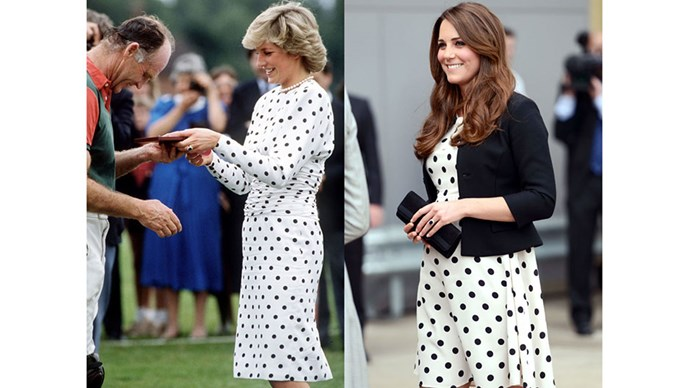 Diana, in Victor Edelstein, awards a prize to Prince Charles' polo manager in 1987; Kate visits the Warner Bros. Studio Tour London in 2013.