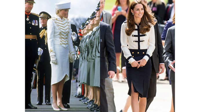 Diana wears Catherine Walker for a passing out parade in Surrey in 1987; Kate visits Bletchley Park wearing Alexander McQueen, 2014.