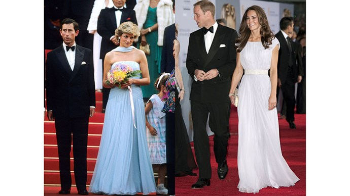Diana wears Catherine Walker to the Cannes Film Festival in 1987; Kate wears Marchesa to a BAFTA event in Los Angeles in 2011.
