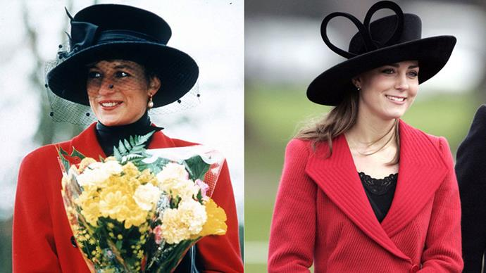 Diana in Sandringham on Christmas Day 1993; Kate attends the Sovereign's Parade At The Royal Military Academy in Berkshire in 2006.