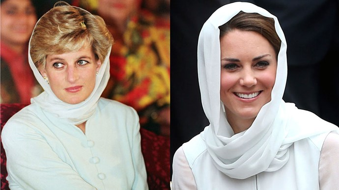 Diana visits Shaukat Khanum Memorial Hospital in Pakistan in 1996; Kate visits Assyakirin Mosque in Malaysia in 2012.