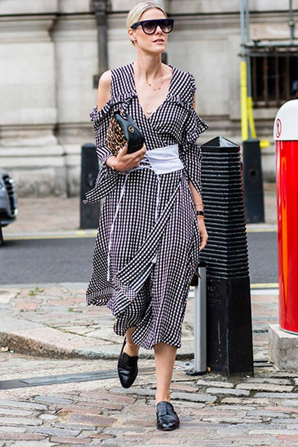 If you're wearing a pattern, it's best to opt for a single print, like gingham, so the corset doesn't get lost in translation. Sofie Valkiers nails it in Prada.<br><br> Image: Jason Lloyd Evans