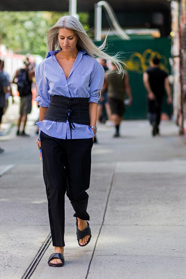 Corsets and crisp shirts in blue or white are a match made in heaven.
