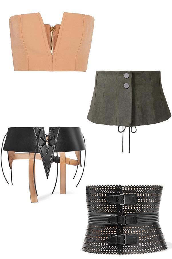 "<strong>Shop</strong><br><br> Balmain cutout top, $1,268, <a href=""https://www.net-a-porter.com/au/en/product/733384/Balmain/cutout-crepe-bandeau-top"">Net-a-Porter</a> <br><br> Christopher Esber corset, $640, <a href=""https://www.mychameleon.com.au/exclusive-waisted-corset-p-4949.html?typemf=women"">My Chameleon</a> <br><br> Tom Ford belt, $1,990, <a href=""https://www.net-a-porter.com/au/en/product/751970/TOM_FORD/cutout-leather-waist-belt"">Net-a-Porter</a> <br><br> Alaïa belt, $2,604, <a href=""https://www.net-a-porter.com/au/en/product/650010/Alaia/vienne-laser-cut-leather-waist-belt"">Net-a-Porter</a>"