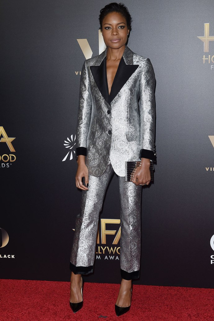 <strong>NAOMIE HARRIS</strong> <br><Br> <strong>November 2016:</strong> Naomie Harris demonstrates how to make a statement with a metallic trouser suit.