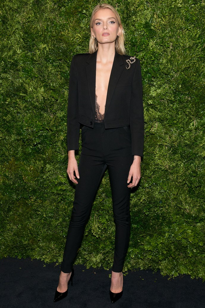 <strong>LILY DONALDSON</strong> <br><Br> <strong>November 2016</strong>: Follow Lily Donaldson's lead and tailor your look for an evening event with skinny fit trousers, a cropped jacket and sheer eyelash lace.